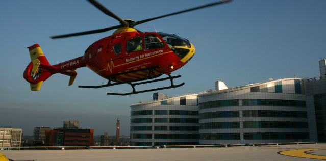 air ambulance landing at the Queen Elizabeth Hospital Birmingham