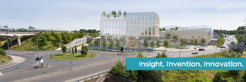 Artist's impression of Birmingham Life Sciences Park overlaid with the strapline - Insight. Invention. Innovation.