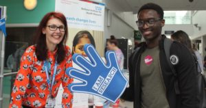 PPI Stall, Laura Chapman with student