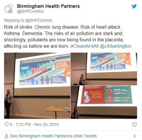 tweet reading: Risk of stroke. Chronic lung disease. Risk of heart attack. Asthma. Dementia. The risks of air pollution are stark and, shockingly, pollutants are now being found in the placenta, affecting us before we are born.