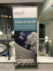 Clean Air for All pull up banner in Queen Elizabeth Hospital atrium