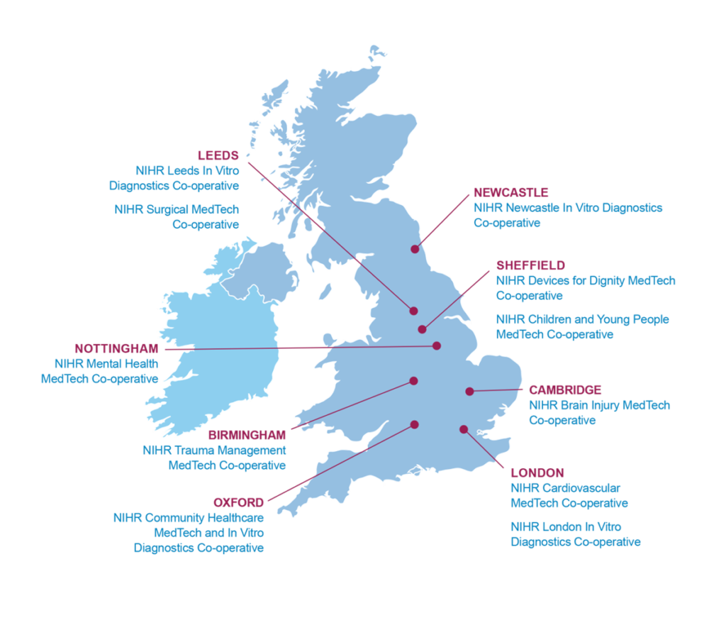 Map showing NIHR locations