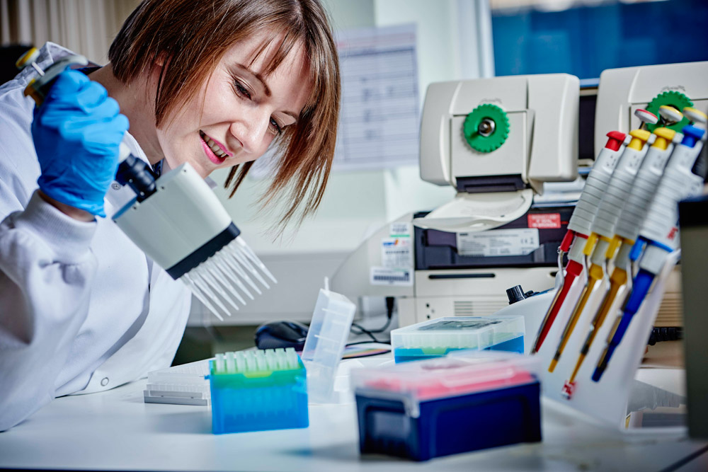 Scientist working in the West Midlands Regional Genetics Laboratory