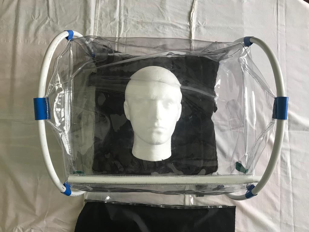 Aerosol Shield over dummy head