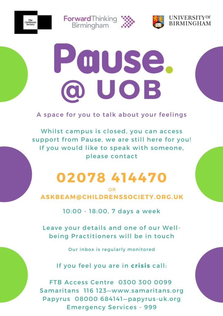 pause@uob poster - all content is summarised in the site text