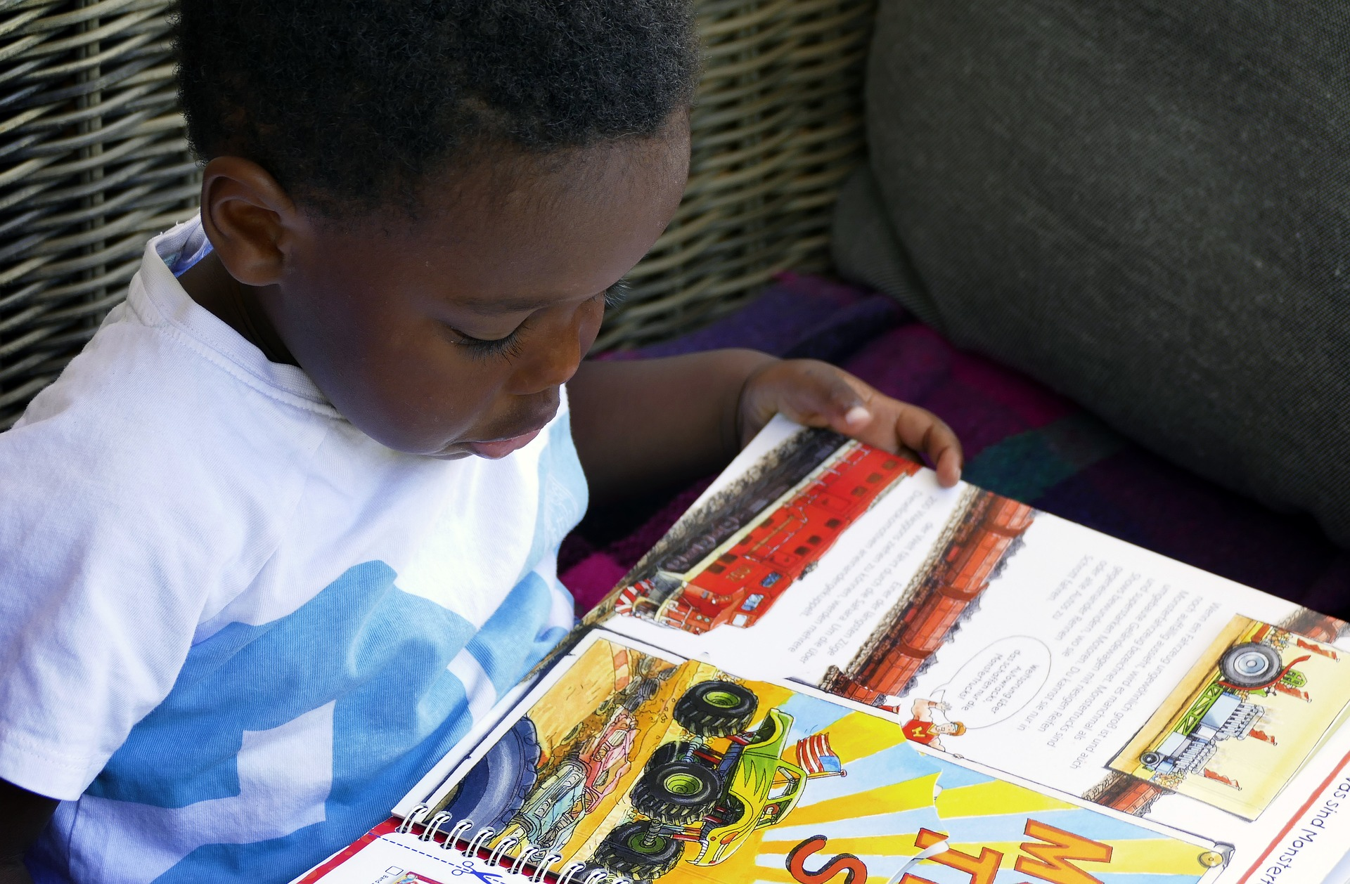 small boy reading