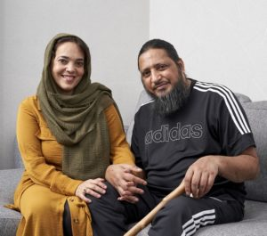 NHS Blood and Transplant Covid-19 survivor Ahmed Bhayat with his wife, Shannaz,pictured at home in Handsworth, Birmingham