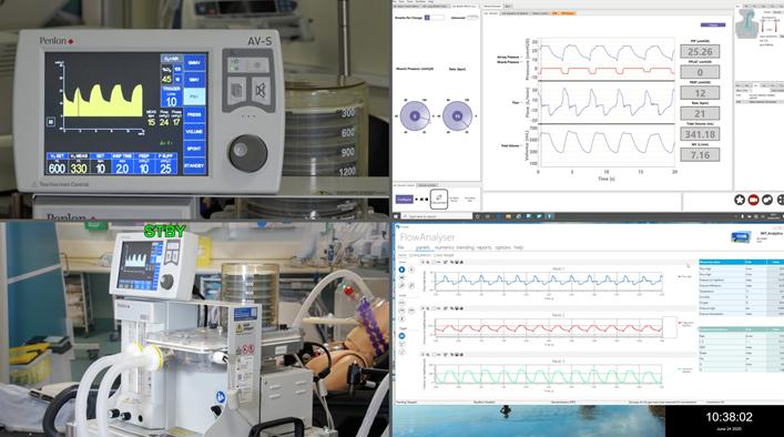 The Penlon Ventilator undergoing testing in MD-TEC's simulation ward